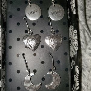 silver drop earrings moon hearts hope set 3 new